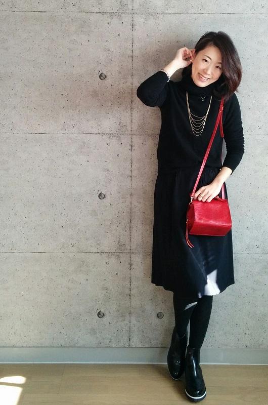 オールブラック・赤い鞄