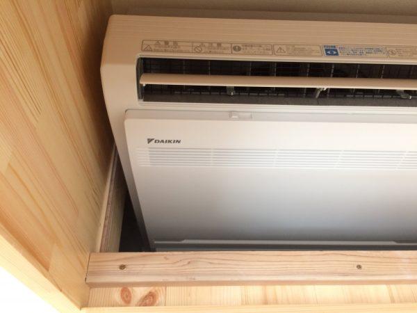 床置エアコン施工写真
