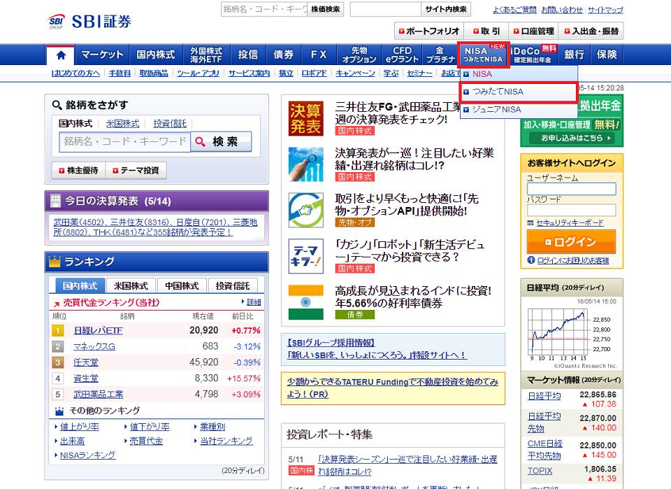 SBI証券トップ画面
